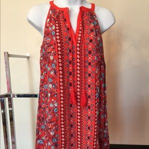 NEW RED DRESS WITH BLUE AND RED PRINTED FLOWERS
